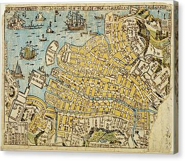 Map Of Nagasaki Harbour Canvas Print by Library Of Congress