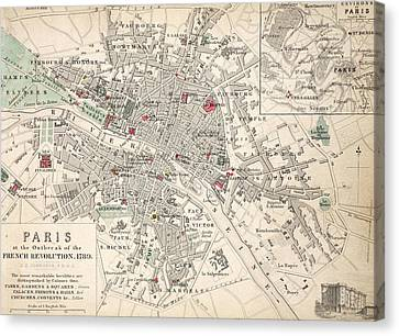 Map Of Paris At The Outbreak Of The French Revolution Canvas Print by French School