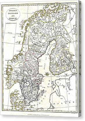 Map Of Scandinavia - 1799 Canvas Print by Pablo Romero