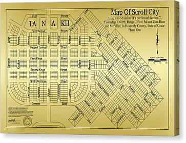 Map Of Scroll City Canvas Print by James Eddy