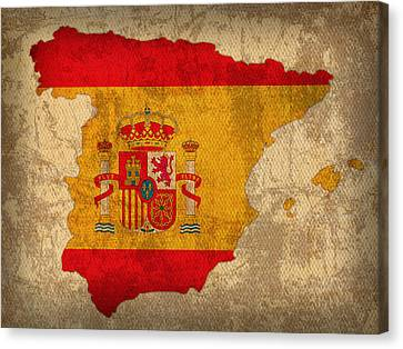 Map Of Spain With Flag Art On Distressed Worn Canvas Canvas Print by Design Turnpike