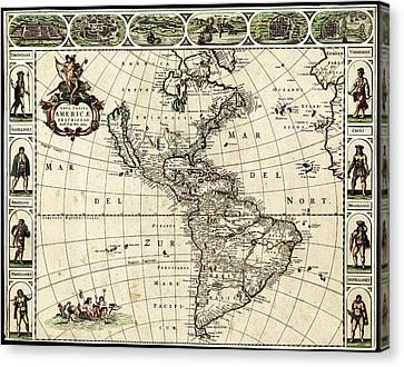 Map Of The Americas Canvas Print by Library Of Congress, Geography And Map Division