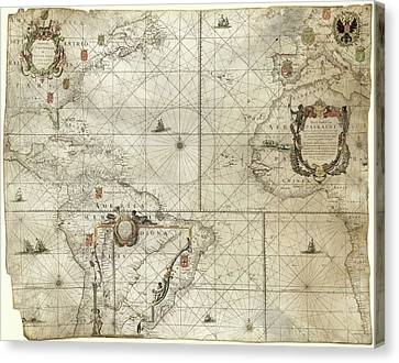 Map Of The Atlantic Coasts Canvas Print by Library Of Congress, Geography And Map Division