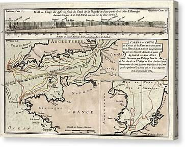 Map Of The English Channel Canvas Print by Library Of Congress, Geography And Map Division