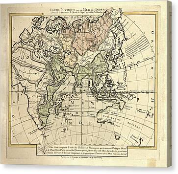 Map Of The Indian Ocean Canvas Print by Library Of Congress, Geography And Map Division