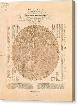 Map Of The Visible Side Of The Moon Canvas Print by American Philosophical Society