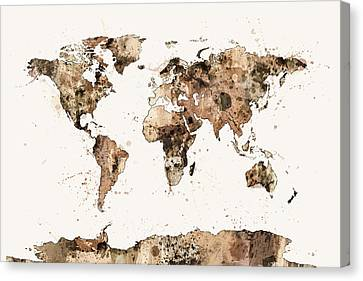 Map Of The World Map Sepia Watercolor Canvas Print by Michael Tompsett