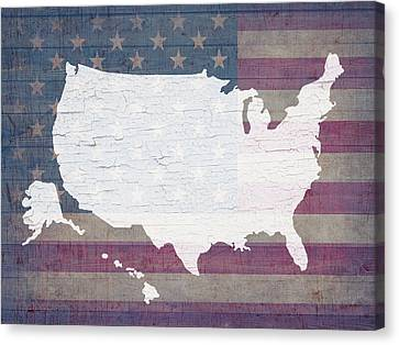 Map Of United States In White Old Paint On American Flag Barn Wood Canvas Print by Design Turnpike