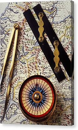 Map With Compass Tools Canvas Print by Garry Gay