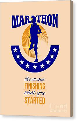 Marathon Runner Finishing Retro Poster Canvas Print by Aloysius Patrimonio
