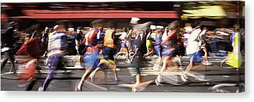Marathon Runners On The Road, New York Canvas Print by Panoramic Images