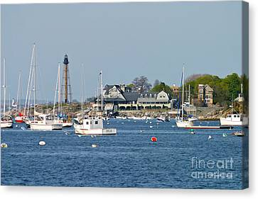Marblehead Light And Yacht Club Canvas Print by Michelle Wiarda