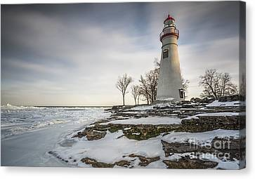 Marblehead Lighthouse Winter Canvas Print by James Dean