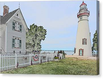 Marblehead Lighthouse With Keeper's House Canvas Print by Jim Steinmiller