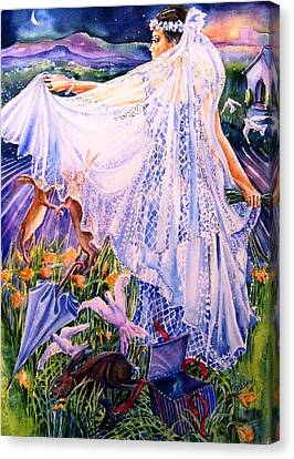 March Bride With Boxing Hares  Canvas Print by Trudi Doyle