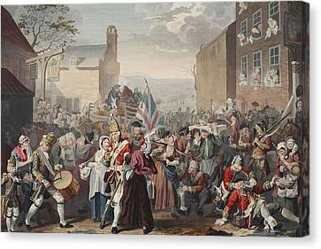 March Of The Guards To Finchley Canvas Print by William Hogarth