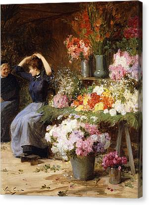 Marchande De Fleurs Canvas Print by Victor Gabriel Gilbert