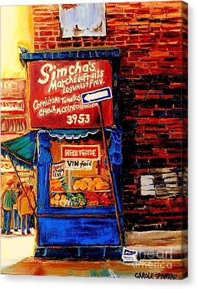 Marche Fruiterie Simcha Montreal Memories Corner Store Depanneur Montreal Patrimonie History   Canvas Print by Carole Spandau