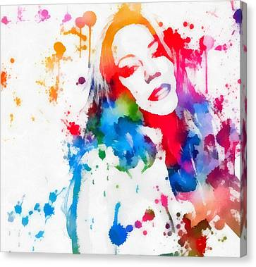 Mariah Carey Watercolor Paint Splatter Canvas Print by Dan Sproul