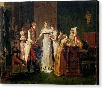 Marie-louise Of Austria Bidding Farewell To Her Family In Vienna Canvas Print by Pauline Auzou