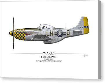 Marie P-51 Mustang - White Background Canvas Print by Craig Tinder