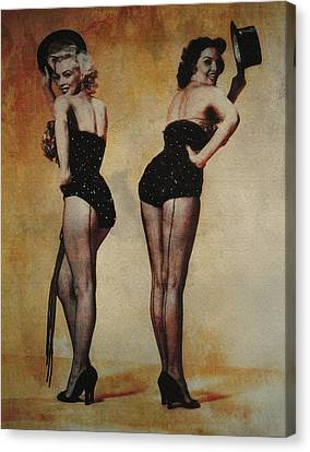 Marilyn Monroe And Jane Russell Canvas Print by EricaMaxine  Price