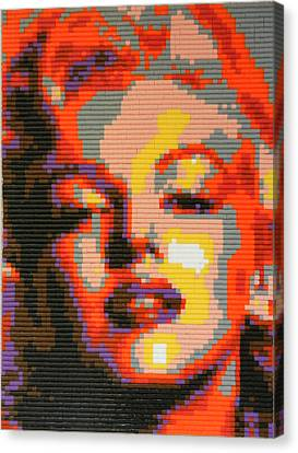 Marilyn Monroe - Hama Pearls Canvas Print by Samuel Majcen