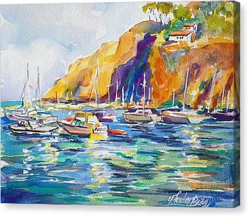 Marina At Catalina Canvas Print by Therese Fowler-Bailey
