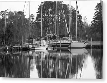 Marina In Black And White Canvas Print by Carolyn Ricks
