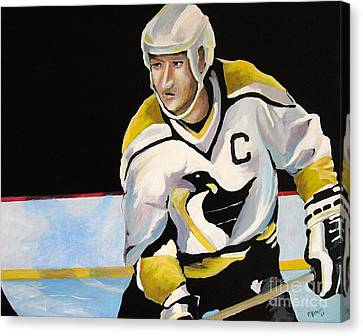 Mario Lemieux The Penguin That Saved Pittsburgh Canvas Print by Philip Kram