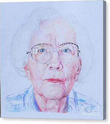 Marjorie's Portrait Canvas Print by PainterArtist FINs husband Maestro