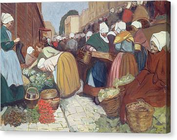 Market In Brest Canvas Print by Fernand Piet