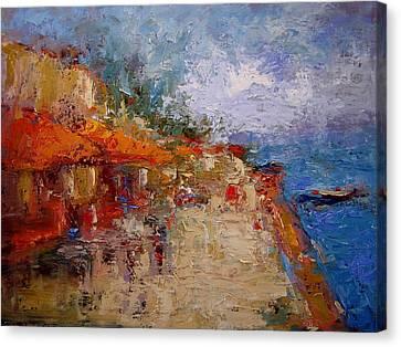 Market In Nafplion Greece Canvas Print by R W Goetting