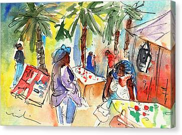 Market In Teguise In Lanzarote 03 Canvas Print by Miki De Goodaboom