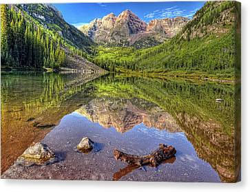 Maroon Bells Reflections Canvas Print by Ken Smith