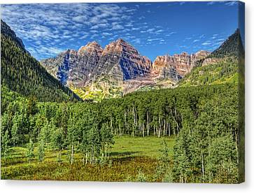 Maroon Bells Valley Canvas Print by Ken Smith
