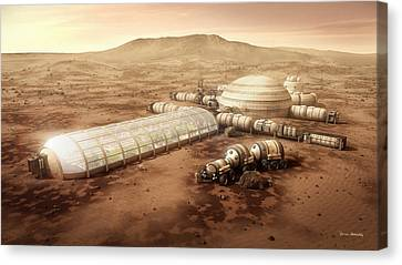 Mars Settlement With Farm Canvas Print by Bryan Versteeg