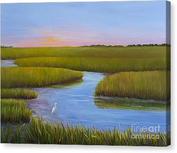 Marsh At Low Water Canvas Print by Audrey McLeod