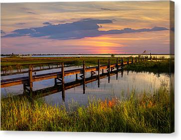 Marsh Harbor Canvas Print by Debra and Dave Vanderlaan