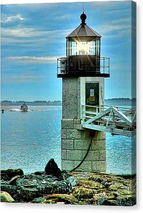 Marshall Point Light And Boat Canvas Print by Carolyn Fletcher
