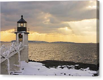 Marshall Point Lighthouse In Winter Maine  Canvas Print by Keith Webber Jr