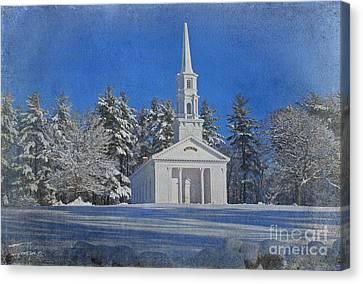 Martha Mary Chapel In Winter Canvas Print by Jayne Carney