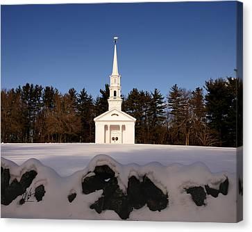 Martha-mary Chapel Snowy Wall Canvas Print by Mark Valentine