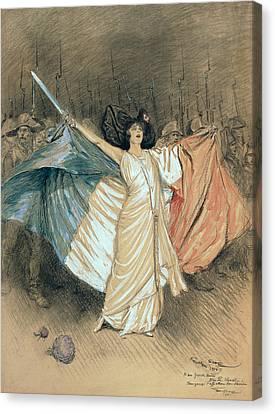Marthe Chenal Singing La Marseillaise Canvas Print by Georges Bertin Scott