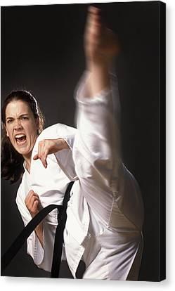 Martial Arts Kick Canvas Print by Don Hammond