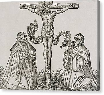 Martin Luther And Frederick IIi Of Saxony Kneeling Before Christ On The Cross Canvas Print by German School