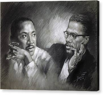 Martin Luther King Jr And Malcolm X Canvas Print by Ylli Haruni