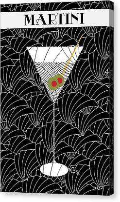 1920s Martini Cocktail Art Deco Swing   Canvas Print by Cecely Bloom
