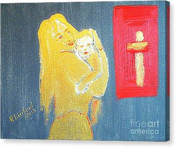 Mary And Baby Jesus 1 Canvas Print by Richard W Linford