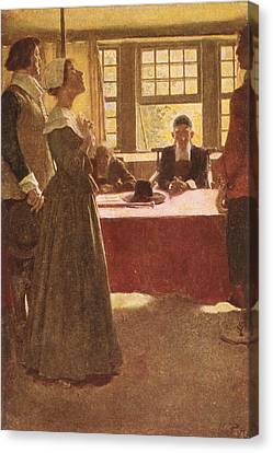 Mary Dyer Brought Before Governor Endicott, Illustration From The Hanging Of Mary Dyer By Basil Canvas Print by Howard Pyle